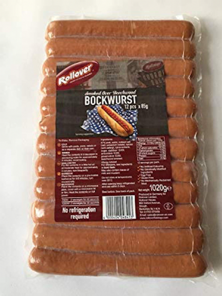 Rollover Smoked Over Beechwood Bockwurst Hot Dogs 12 Pack, No Refrigeration